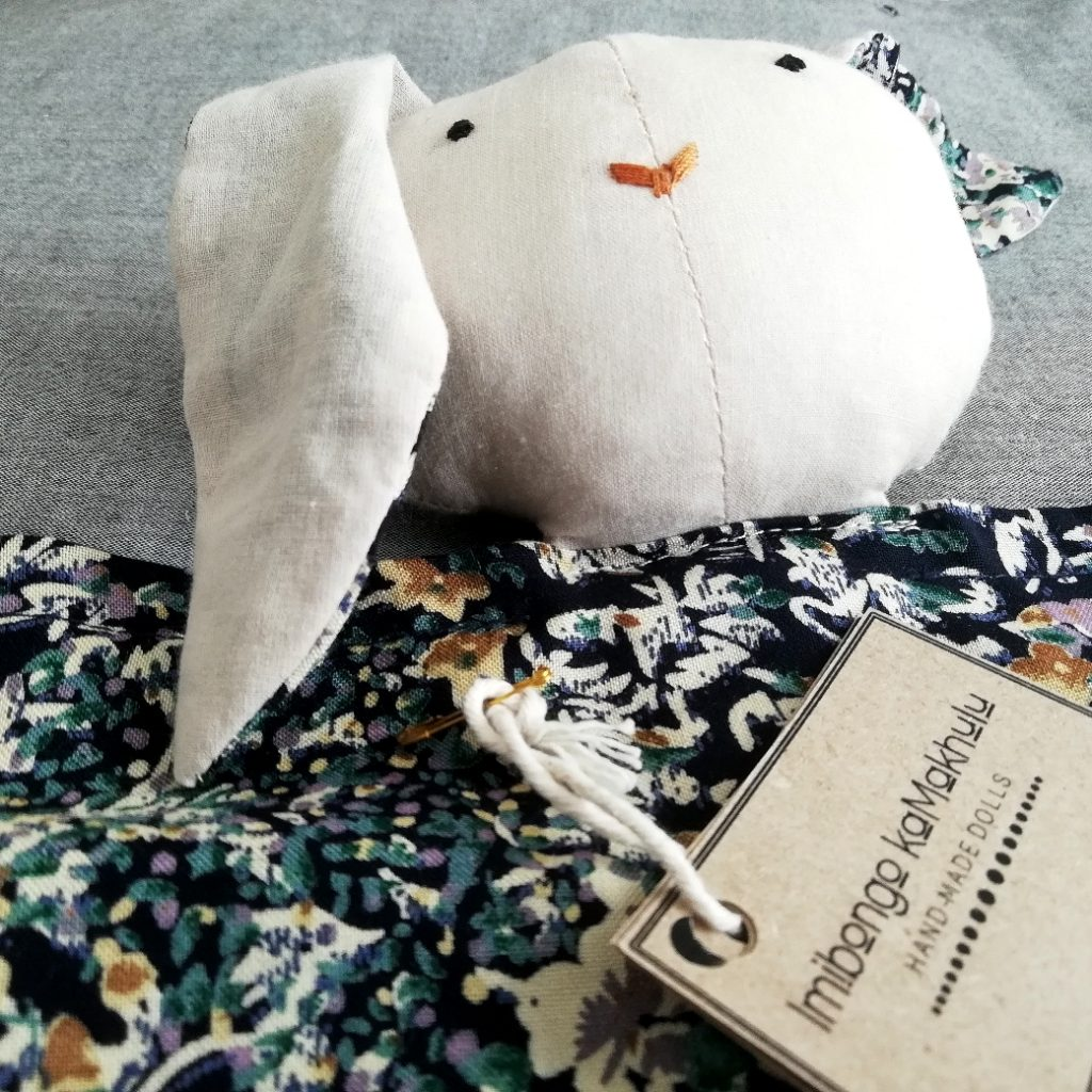 Beautiful handmade bunny lovie in cream and navy floral