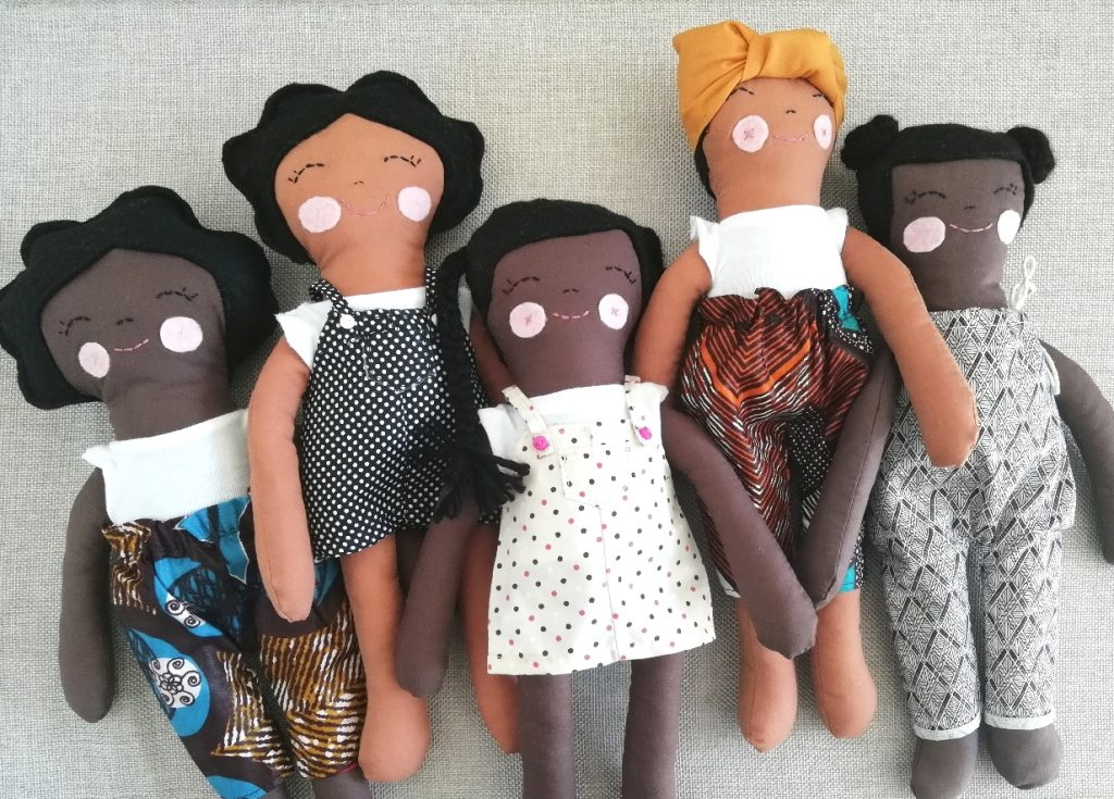 Selection of handmade brown dolls currently available